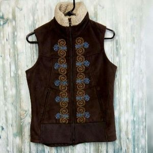 Athleta embroidered faux suade vest
